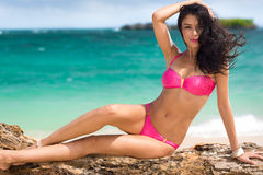 Sexy woman in pink bikini Royalty Free Stock Images