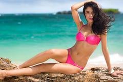 Sexy woman in pink bikini Royalty Free Stock Images