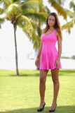 Sexy woman in a pink dress Royalty Free Stock Images