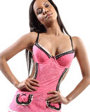 Sexy woman with pink waitress uniform Royalty Free Stock Photos