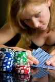 sexy woman poker casino play blonde Royalty Free Stock Photos