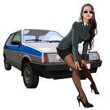 Sexy woman in police uniform leaned against the car Lada Royalty Free Stock Photography
