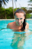 Sexy woman in the pool Royalty Free Stock Images