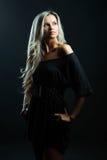 Sexy woman portrait - dark black background Stock Images
