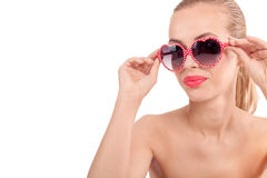 Sexy woman portrait with fancy glasess Royalty Free Stock Photo