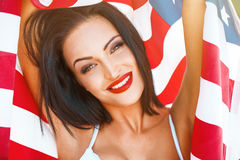 woman portrait with usa flag in sunset Royalty Free Stock Images