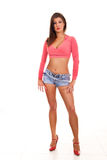 Sexy woman posing. Portrait of a sexy female model wearing jeans shorts Royalty Free Stock Image