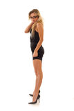 Sexy woman posing in black dress Stock Photography