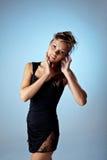Sexy woman posing in black peignoir Stock Photo