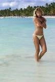 woman posing on the caribbean beach Stock Photo