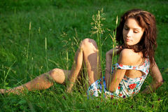 Sexy woman posing outdoors Royalty Free Stock Images