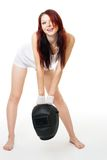 woman posing with welder mask Royalty Free Stock Photography
