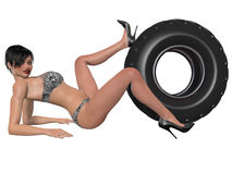 Sexy woman posing with wheel Royalty Free Stock Photography