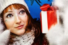 woman with present Royalty Free Stock Image
