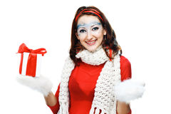 woman with present wrapped in white paper, Stock Photos