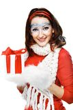 woman with present wrapped in white paper Stock Photography
