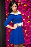 Sexy woman pretty blue dress Stock Photo