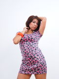 woman in printed dress Stock Photo