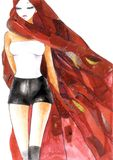 Sexy Woman in Red. A fashion illustration depicting a hot woman partially covered by a red veil, symbolizing passion. Created with watercolor, ink and collage Stock Images
