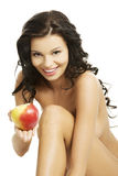 Sexy woman with red apple Royalty Free Stock Image