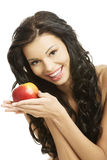 Sexy woman with red apple Stock Image