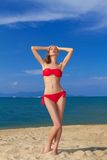 Sexy woman in red bikini Royalty Free Stock Images