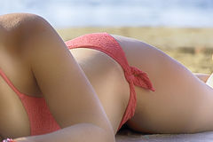 Sexy woman with red bikini on the beach, Sea in Italy. Sexy woman with red bikini on the beach and sea,  Italy Royalty Free Stock Photos