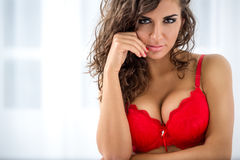 Sexy woman in red bra Royalty Free Stock Images