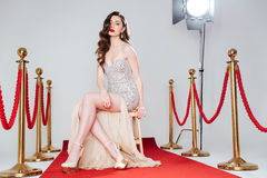 woman on red carpet stock image