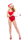 A sexy woman in red Christmas lingerie holding a paper Stock Photos