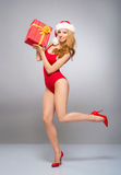 A sexy woman in red Christmas lingerie holding a present Stock Images