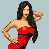 Sexy woman in red dress on a background. EPS vector Royalty Free Stock Photos