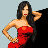Sexy woman in red dress on a background. EPS vector Royalty Free Stock Images