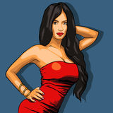 Sexy woman in red dress on a background. EPS vector Stock Photography