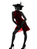 woman in red dress silhouette Royalty Free Stock Image