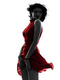 Sexy woman in red dress silhouette Stock Images