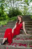 Sexy woman in red dress Stock Images