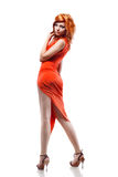 woman in red dress  on white Royalty Free Stock Photo
