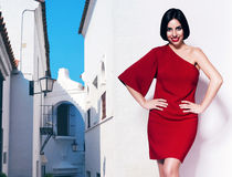 Sexy woman in red dress and white architecture Royalty Free Stock Photos
