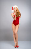 A sexy woman in red erotic Christm Royalty Free Stock Photo