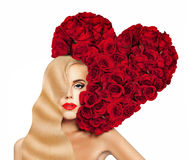 Sexy Woman with Red Heart of Roses Flowers  Stock Images