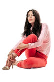 Sexy woman in red jeans. Isolated Royalty Free Stock Photos