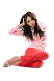 Sexy woman in red jeans. Isolated on white Royalty Free Stock Images