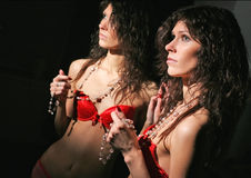 Sexy woman in red lingerie with reflection Royalty Free Stock Image