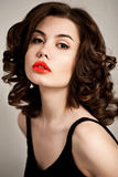 Sexy woman with red lips Stock Photos