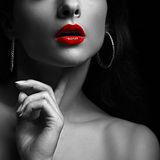 woman with red lips. Black and white portrait Stock Photo