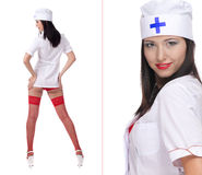 Sexy woman with red lips and medical uniform Stock Image