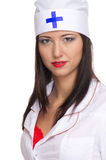 Sexy woman with red lips and medical uniform Stock Images