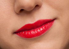 Sexy woman with red lips and medical uniform Royalty Free Stock Image