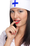 Sexy woman with red lips and medical uniform Royalty Free Stock Photography
